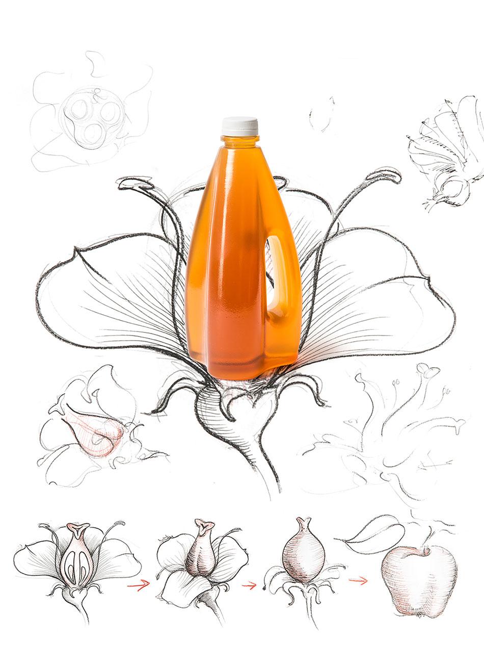 这款SIS果汁包装的表面没有具体的大小、尺寸比例,所有的线条都带有偶然感。尽管常规的瓶贴是采用特殊材料会贴合瓶身。但由于我们这款SIS果汁包装瓶身的表面并不均匀,因此很难通过常规的标签形式贴在瓶身上。考虑到这一点,我们开发了一种带有波浪边的标签,它随着瓶身的表面积起伏,并与瓶身紧紧贴合。            包装设计过程
