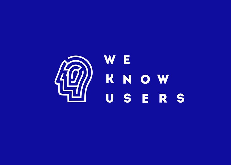 know users公司的logo标志设计采用了人的大脑剪影,结合抽象电路图形